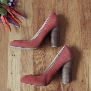 Express Dusty Orange Suede Heels Size 9